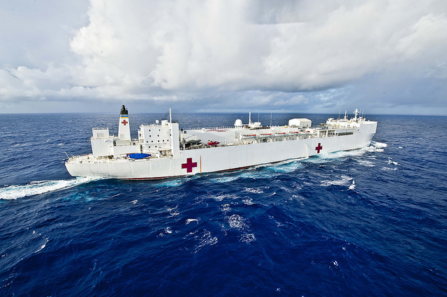 USNS Mercy transits the Pacific Ocean.